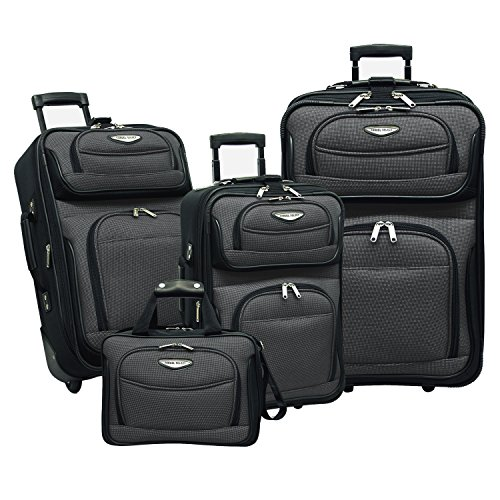 Travel Select Amsterdam Expandable Rolling Upright Luggage, Gray, 4-Piece Set