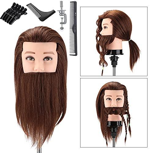 Neverland Tête à Coiffer Professionnelle Mannequin Homme Poupée Tête d'exercice Coiffure avec Barbe - 100% Cheveux Humains Pour Étude Professionnel dans la Cosmétologie