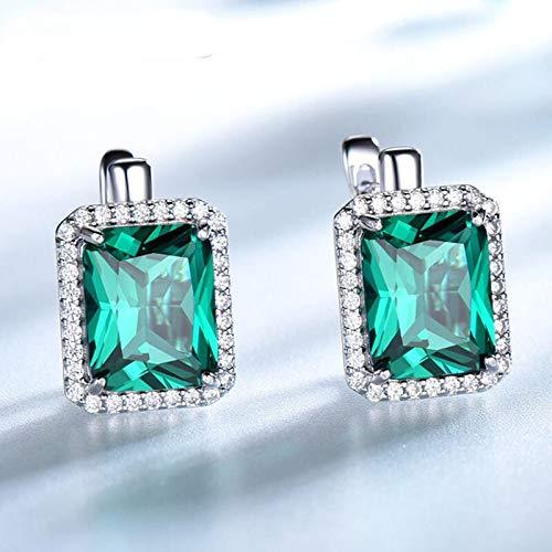 DJMJHG Pendientes de Clip Nano Esmeralda para Mujer, joyería Fina, Plata de Ley 925, Piedra Preciosa Verde, Regalo de cumpleaños