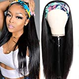 Straight Headband Wig Human Hair Wigs for Black Women Glueless None Lace Front Wigs Headband Half Wig Human Hair 10A Brazilian Virgin Hair Machine Made Headband Wig 150% Density 14 Inch