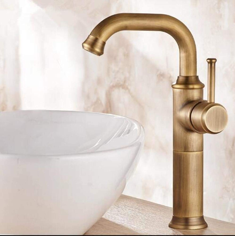 Kai&Guo Black Oil Brushed gold Antique Basin Faucet Single Handle Swivel Basin Mixer Tap Hot & Cold Bathroom Faucet Sink Water Faucet,antique tall