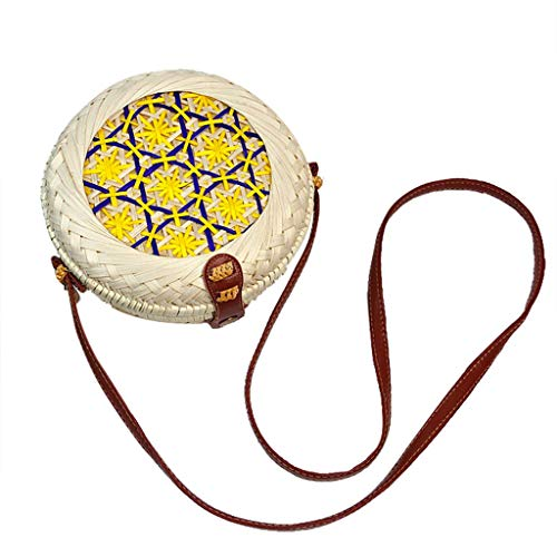 New Leaf2you Circle Handwoven Round Geometric Patterns Retro Rattan Straw Beach Bag Crossbody Bag Sh...