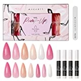 Makartt Acrylic Nail Kit, Press On Nails Set 240Pcs Short Stiletto Nail Tips Full Cover Nude 4pcs Nail Glues 1pcs Nail File with Case False Nail Kit, A-27