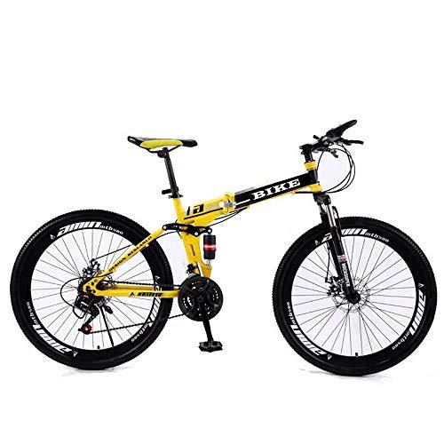 Bicicleta de montaña plegable de 26 pulgadas, bicicleta de montaña con rueda, color amarillo