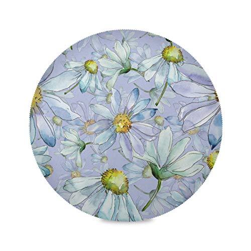 Juego de manteles individuales redondos con diseño de margaritas y flores, antideslizantes, resistentes al calor, lavables, para mesa de comedor, cocina, decoración del hogar