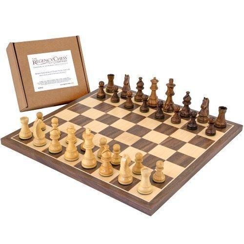 The Regency Chess Company Unten Kopf Ritter Sheesham Schachfiguren mit 34.9cm Nussbaum Platte