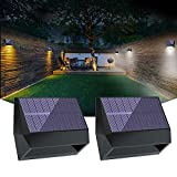 2 Pack Solar Wall Lights Outdoor Warm Light/White Light Changing Deck Lights, Solar Fence Lights Outdoor Waterproof IP65, Deck Security Lighting for Wall Patio Garden Yard Path Fence
