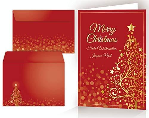 Set di cartoline di Natale: 10 x ALBERO DI NATALE D'ORO con busta - 10 cartoncini pieghevoli/di alta qualità in un set con buste. Formato: DIN A 6 (14,8 x 10,5 cm)