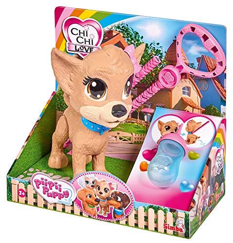 Simba 105893460 Chi Chi Love Pii Pii Puppy, Hund zum Gassi gehen, macht Pipi, ab 3 Jahren, 20 cm