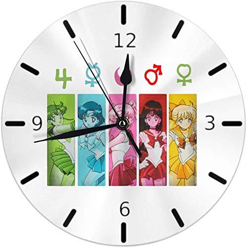 Kncsru Reloj de Pared Silencioso Sin tictac Relojes de Pared Redondos, Sailor Moon Grupo Símbolos Relojes Cuarzo con Pilas Analógico Silencioso Reloj de Escritorio