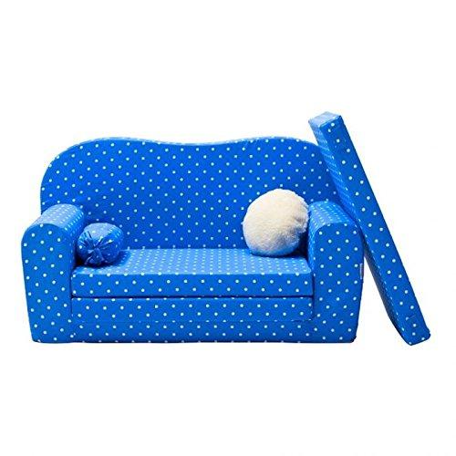 Gepetto Maxi Kindersofa blau mit Klappmatratze Plus extra Kissen I Sofa für das Kinderzimmer mit Liegefunktion als Gästebett