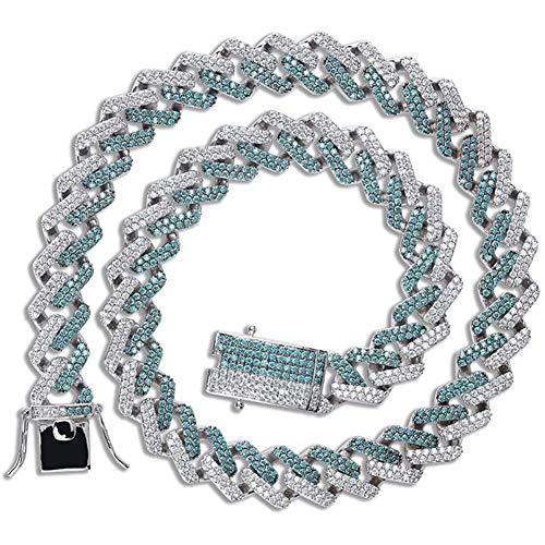 ZHIRCEKE Collar de zircón de los Hombres Pulsera de la Cadena de Enlace de la bordilla Ancha, joyería única de la Serie Verde de la Menta para el Aniversario de la Navidad cumpleaños g