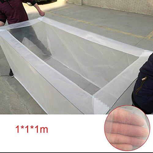 Cutogain Fischnetz Zuchtzaun Käfig ungiftig zur Verhinderung von Landrutschen Züchtergarnelen, weiß, 1 * 1 * 1m