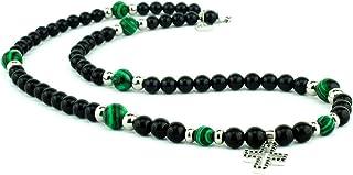 Collana rosario con pietre dure naturali nice nero e malachite verce con croce pendente in argento 925