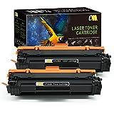 CMCMCM Cartucho de Tóner Compatible Reemplazo para HP CF244A 44A con Chip para HP Laserjet Pro MFP M28a MFP M28w M15a M15w Impresora (2 Negro)