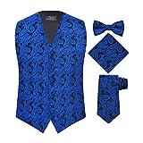 S.H. Churchill & Co. Men's 4 Piece Paisley Vest Set, with Bow Tie, Neck Tie & Pocket Hanky - 2XL, Royal Blue/Black