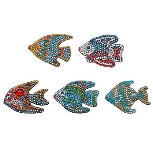 SYIELECT 5pcs DIY Cartoon Fisch Diamant Malerei Schlüsselring Kreuzstich Schlüsselbund Dekor