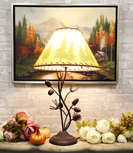 Ebros Large 27'H Rustic Cabin Lodge Mountain Vintage Pine Tree Needles and Pinecones Metal Side Table Lamp Statue with Shade Western Desktop Lamps Accent Seasons Greetings and Good Tidings