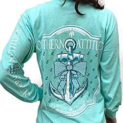Southern Attitude Bow Anchor Sea Foam Green Preppy Long Sleeve Shirt