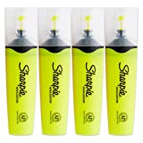Sharpie Clear View Fluorescent Highlighters, Chisel Tip, Smear Guard Ink (Yellow, 4-Pack)