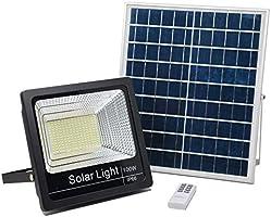 Luz Solar Exterior Mando a Distancia 100W, Foco Solar LED Luz Blanco Neutro 4000K, Lámpara Solar 180 LEDS, Iluminación...