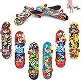 QNFY Finger Skateboard, 6PCS Mini Fingerboard Finger Skate Board Skatepark Juguete Mini Monopatines para Dedos Decoración de Fiestas Niños (Patrón Aleatorio)