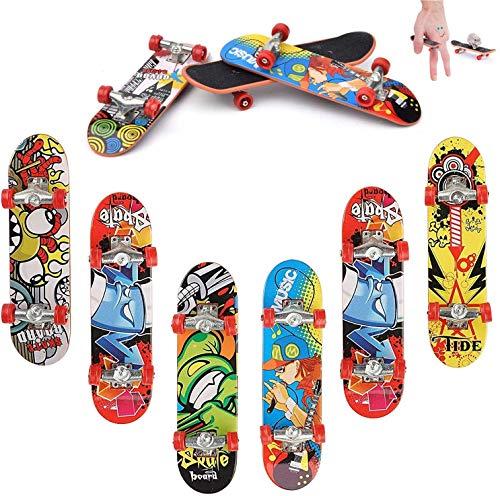 QNFY Mini Planche à roulettes, 6 Pack Skateboard de Doigt Fingerboard Skatepark Jouet Finger Skate Boarding Boy Enfants Cadeau (Motif Aléatoire)