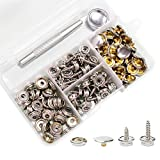 Snaps Kit for Boat Cover, 120pcs Canvas Screws Snaps Buttons Tool Marine Grade Sewing Fastener with 2Pcs Setting Tool