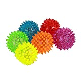 Dazzling Toys Pet Toy Squeaking Balls with Blinking LED Lights Set of 6 for Cat, Dog Pet. Comes in Bright Colors