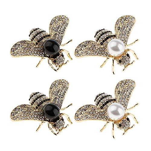 perfeclan Broche de Abeja de Perlas de Lujo de 4 Piezas para Regalo de Decoración de Fiesta de Boda para Mujer