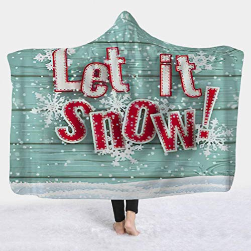 Atomack Let It Snow Wearable Hooded Blankets, Red Letter on Blue Wooden with and Snowflakes Comfy Blanket Hoodie for Adults Kids Sherpa Fleece Throw Poncho Cloak, 50x60 Inch