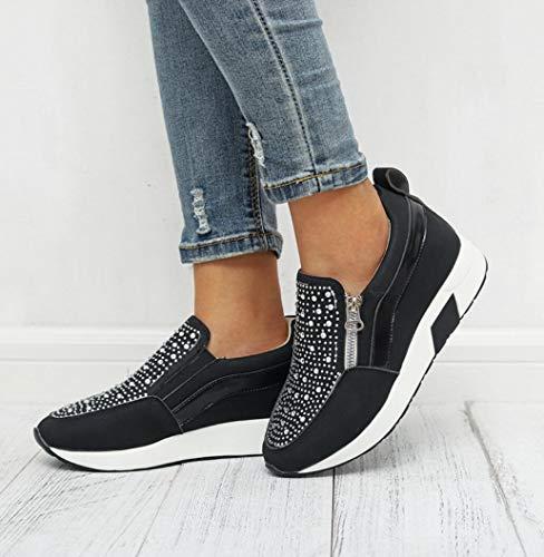 ZYLL Frauen Turnschuhe Hot Bohren Breath Höhe zunehmende Keil-Plattform-Vulcanize Schuhe PU-Leder-Frauen-beiläufigen Turnschuhes,Schwarz,37
