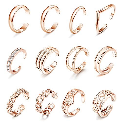 Subiceto 12 PCS Toe Rings for Women Adjustable Open Wave CZ Hollow Flower Celtic Knot Simple Band Knuckle Tail Ring Set