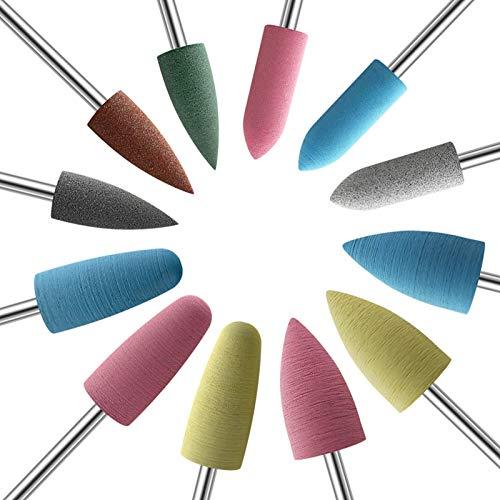 KADS 12X Silicone Nail Drill Bit Rotary Burr Head Cuticle Clean File for Nail Art Salon Manicure