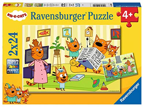 Ravensburger 05080 Zuhause Bei Den Kid E Cats 05080-Zuhause Cats-2x24 Teile Puzzle, Brown