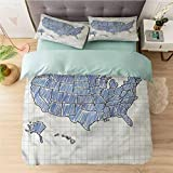 Aishare Store Duvet Cover Set Californai King, Map,Sketchy US Map Doodle Style, (1 Duvet Cover with Zipper Closure & 2 Pillow Shams), Ultra-Soft & Hypoallergenic