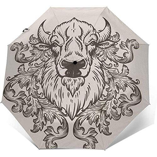 Bison Folding Compact Regenschirm wasserdicht-Sun Block-Auto Open&Close (schwarzer Kleber)