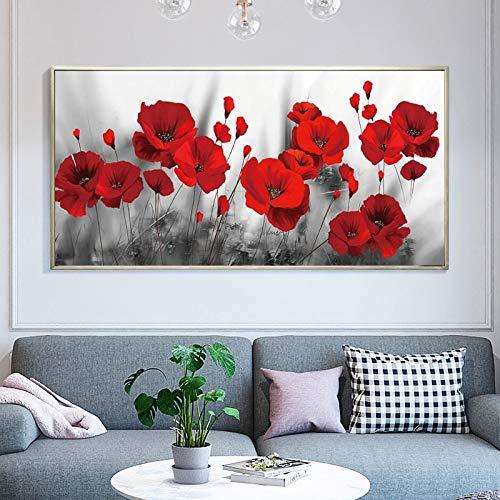 KWzEQ Moderne Blumenplakatmalerei Wohnzimmerhauptdekoration rote Mohnblumenwandbildkunst,Rahmenlose Malerei,30x60cm