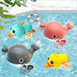 ALongDeng Bath Toys, Wind up Duck Bath Toy, Swimming Whale Bath Toy - No Mold for Toddlers Kids Babies Gilrs Boys Infants Ages 18M+ 1 2 3 4 5 6 Years Olds Set of 4 Pack