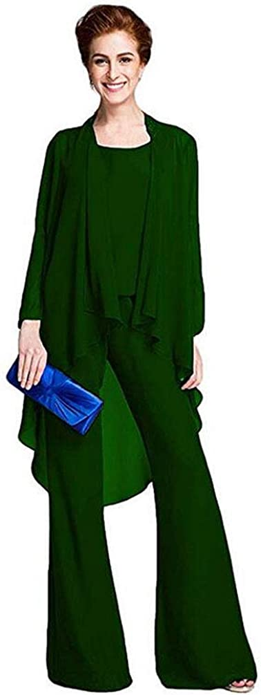 Women's 3 PC Elegant Chiffon Outfit Pants Suits for Mother of The Bride Plus Size Evening Gowns