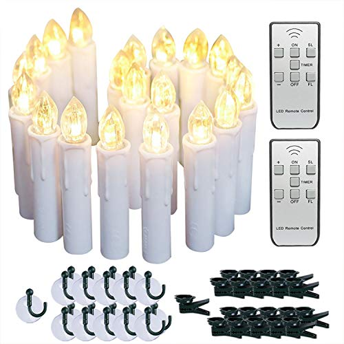 Raycare 20 PCS Battery Operated Taper Candle Lights with Remote, Led Window Candles with 6H Timer, Warm White Bright Flickering Light Christmas Candles with Clips/Suction Cups