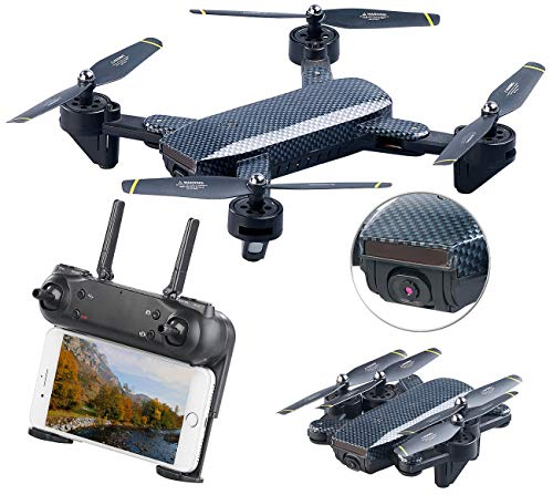 Simulus Drone mit Kamera: Faltbarer WiFi-FPV-Quadrocopter, HD-Cam und VGA-Cam, Optical Flow, App (RTF-Drohne)