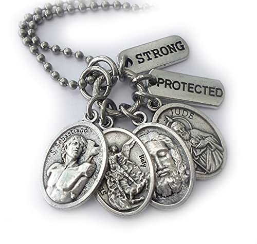 Protection Amulet for Men and Boys, Keychain, Clip or Necklace, St. Sebastiano, Holy Jesus, St. Michael, St. Jude, Athletes, Soldiers, Police Officers, Strong, Protected
