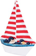 Sailboat Model Decoration, Wooden Craft Mediterranean Sailboat Model, Retro Style for Family Friends(White Fishing net)