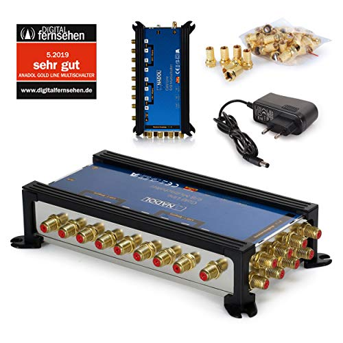 Anadol Gold Line Multischalter 9/8 für Satelit - Multiswitch für 2 Satelliten und 8 Ausgänge/Receiver - Sat-Verteiler externes Netzteil - Multischalter Satanlage mit 17 vergoldeten F-Stecker