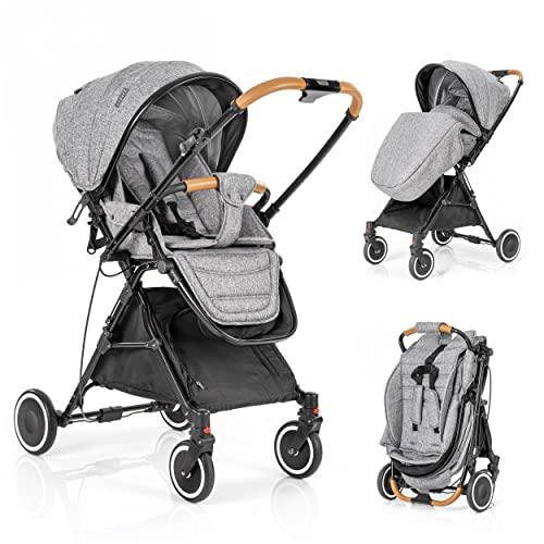 Zamboo - Silla de paseo ligera plegable - Carrito Bebe reclinable - Silla paseo con manillar reversible y plegado automático - Gris
