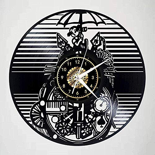 ZYBBYW Reloj de Vinilo mecánico Animal y niña Disco de Vinilo Reloj de Pared 3D Oficina de diseño Moderno Arte Creativo Reloj de Pared Regalo