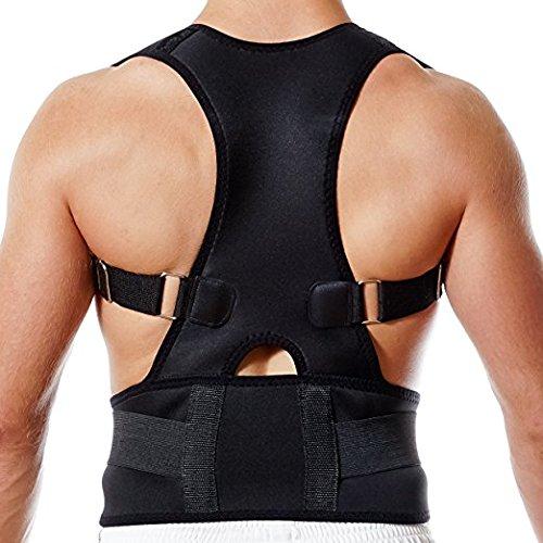 SUAVER Ceinture correcteur Posture Corset De Soutien Dos Épaule Therapie Magnetique Ajustable pour Homme et Femme (L: 36-40'')