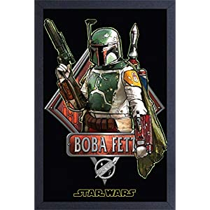 Pyramid America Star Wars Boba Fett Wall Poster – Print with Protective Textured Coating in 13″ x 19″ Black Frame & Ready to Hang