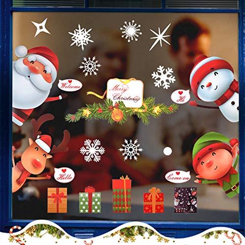 Faburo 2PCS Natale Vetrofanie Addobbi, Natale Vetrofanie Fiocco di Neve Adesivo Babbo Natale Alce Vetrofanie Adesivi PVC Rimovibile Adesivi Murali Fai da Te Finestra Sticker Decorazione